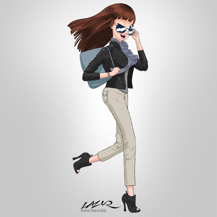 Illustration - Cartoon Girl walking run go woman comic