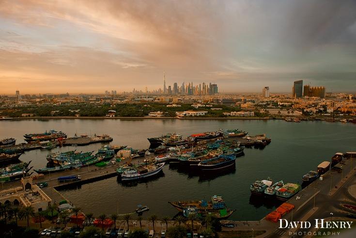 Sunrise over Dubai Creek. David Henry Photography