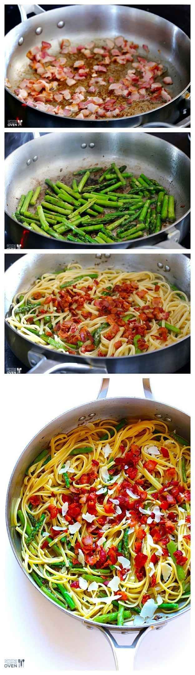 Bacon asparagus pasta 23 Easy Five-Ingredient Dinner Recipes #dinner #recipes #maincourse #recipe #healthy