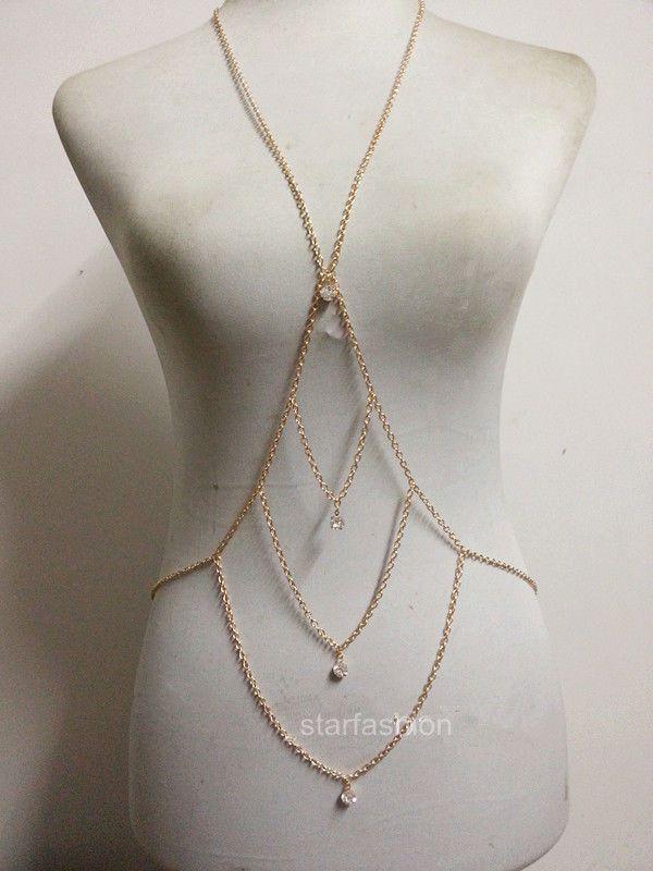 Three Row Wave Bikini Crystal Harness Waist Belly Body Chain Necklace Jewelry #fashionjewelry