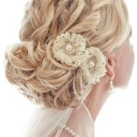 twisted and curled chignon with veil