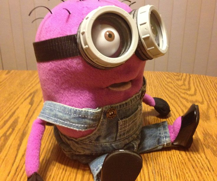 """This is a puppet that I made for a special gift. It was a very rewarding project due to the reason I made it and very fulfilling when I presented it to its recipient. Since there are no Purple Minions to buy in the store that resemble the original Yellow Minions I was asked to create this one for this special project. Parts needed: -Soft foam (JoAnn Fabrics) -1/2 yard of purple fleece (JoAnn Fabrics) -a ping pong ball sliced in half -2 2 1/2"""" gray plumbing bushings (Lowes) ..."""