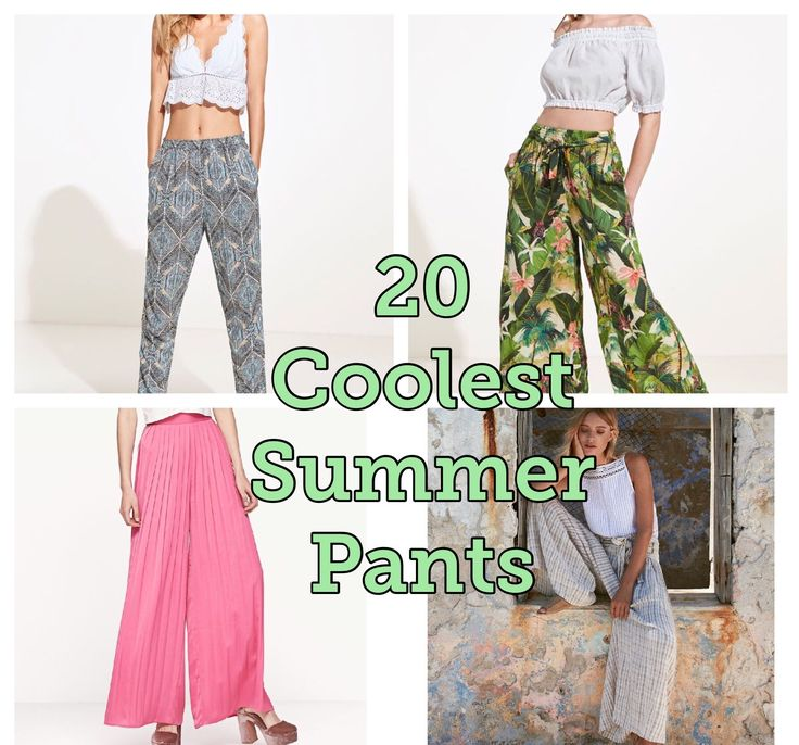 20 COOLEST SUMMER PANTS I love these pants are perfect for summer, so relax, fresh and cool! Brands Mango, Free People, Stradivarius, H&M, Berska, Revolve, Zara, Oysho