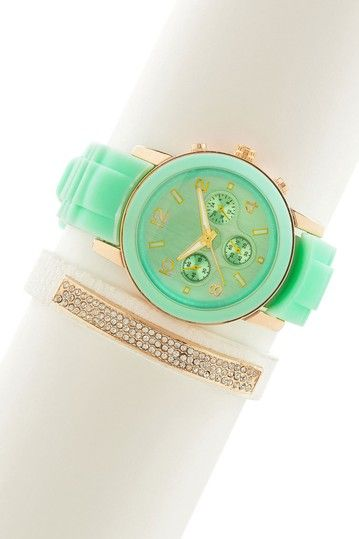Mint Watch & Pave White Bracelet Set by t+j Designs on @HauteLook