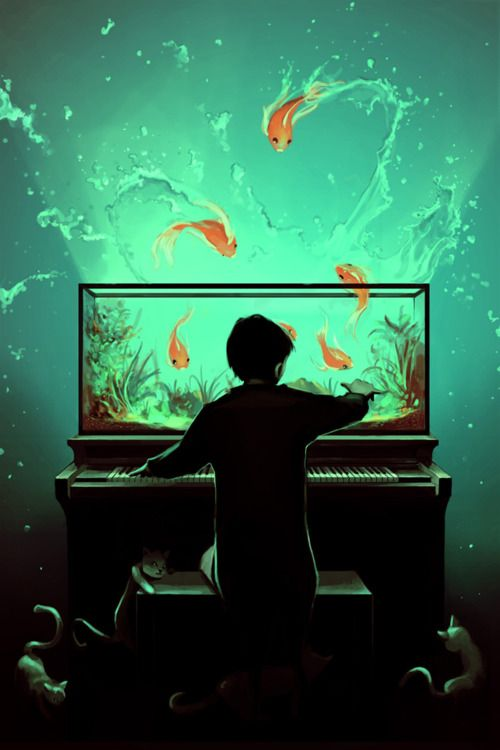 illustrated by Cyril RolandoMusic, Digitalart, Cyril Rolando, Inspiration, The Piano, Fish Tanks, Illustration, Digital Art, Digital Painting