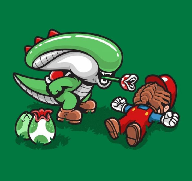 Alien / Super Mario Bros. mashup