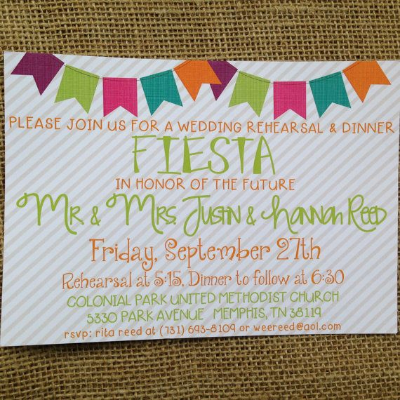 PRINTED or DIGITAL Fiesta Rehearsal Dinner Wedding Shower Birthday Invitations 5x7 Customized Grey Stripe Mexican Fiesta Design 0.82 each on Etsy, $0.82