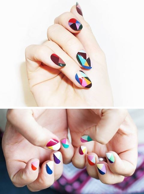 Nail Art Abstract Geometric Colorful Manicure