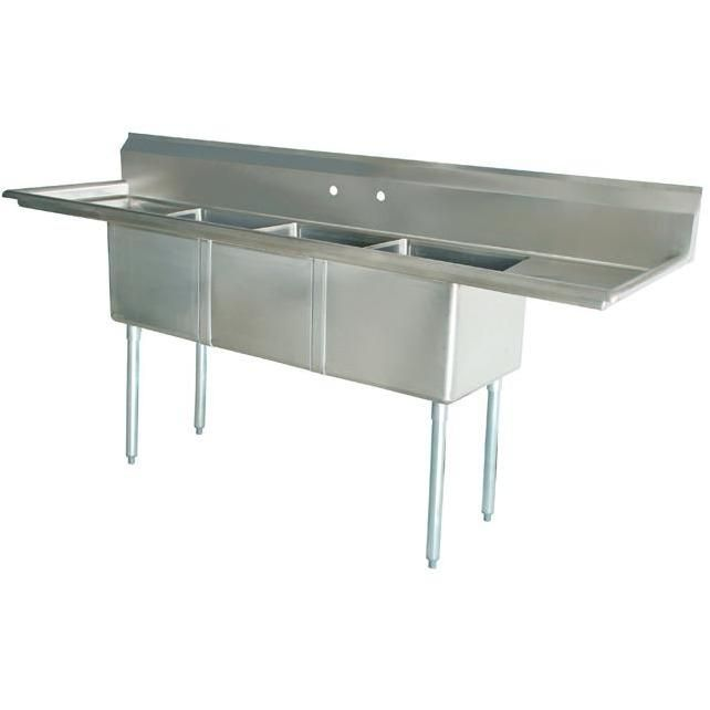 Stainless Steel 3 Compartment Sink 60 X 20 With 2 15