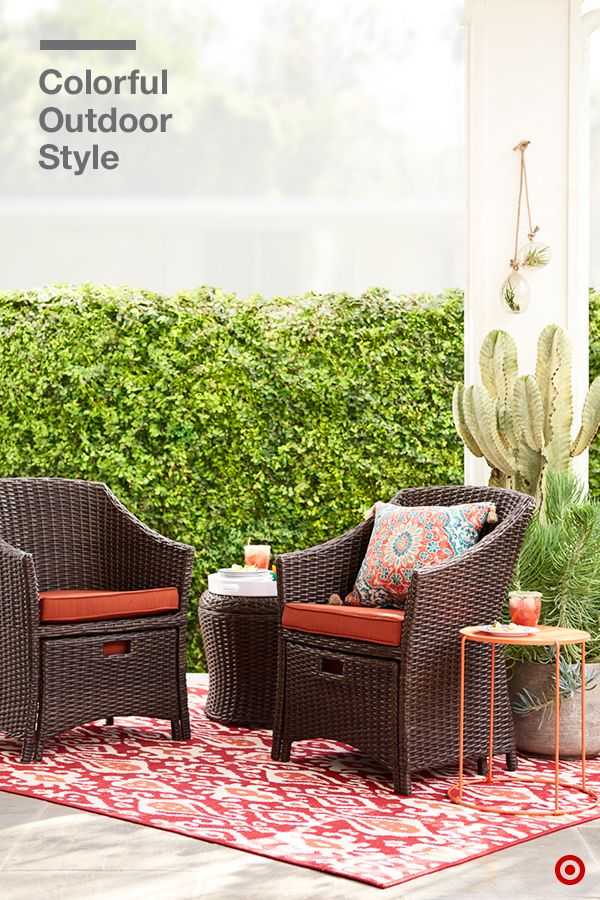 Cool prints are everywhere this summer, and they look especially good in a colorful backyard setting. And mixing patterns is also the perfect way to update traditional outdoor furniture; just stick to the same color palette when combining rugs, cushions and pillows. Who's ready for happy hour?