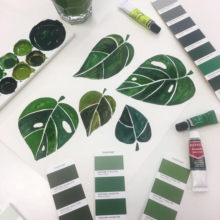 Painting leaves in the Warwick studio