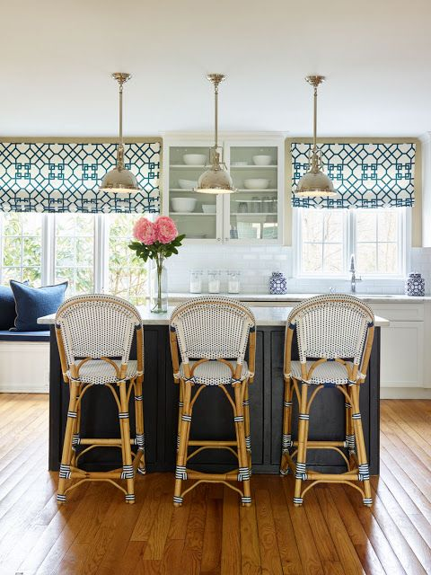 Blue and White Kitchen - Before and After. Love the rattan bar stools!