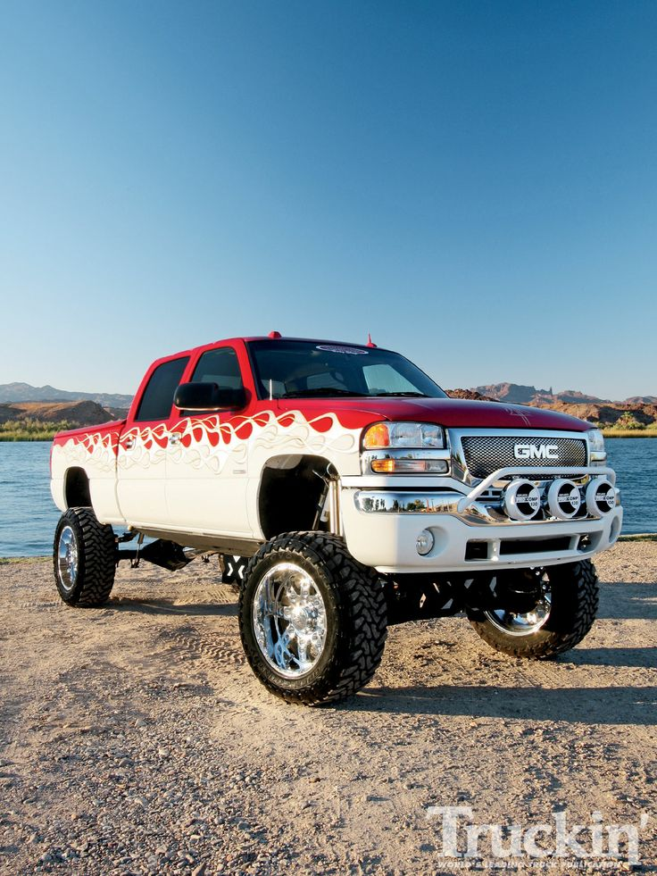 Lifted red /white custom paint GMC Sierra truck | Lifted ...
