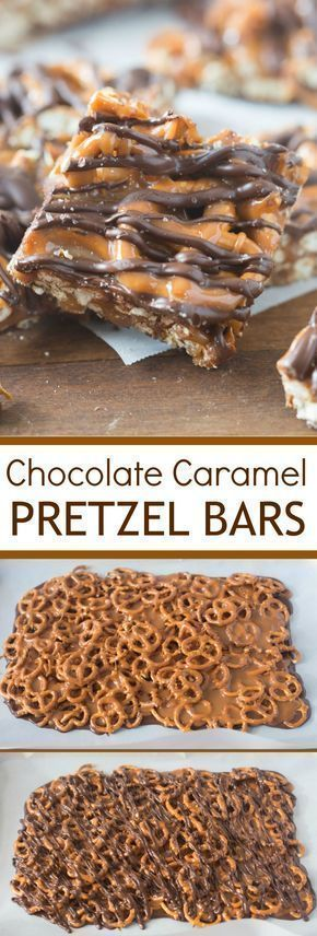 Salted Chocolate and Caramel Pretzel Bars – Candy – Ideas of Candy #Candy – Thes…