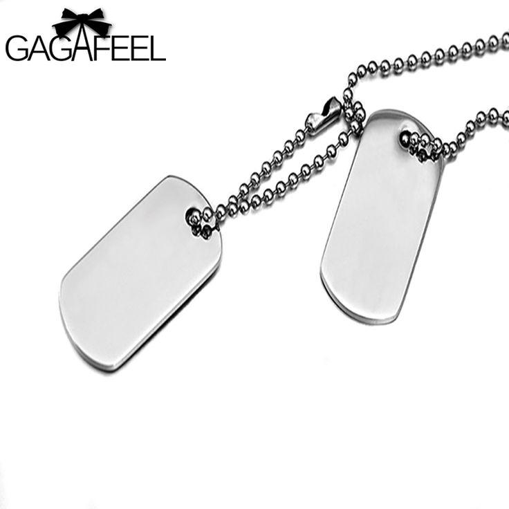 GAGAFFEL Lasergravure Maat Logo Rvs Dog Tag Militaire Kaarten Hanger Kettingen Mannen Liefde Sieraden