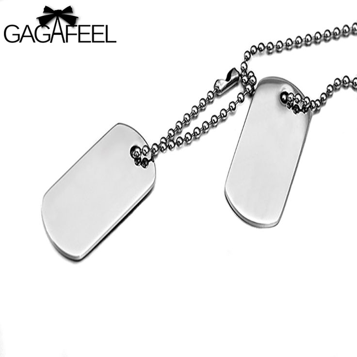 GAGAFFEL Laser Engraving Customized Logo Stainless Steel Dog Tag Army Military Cards  Pendant Necklaces Men Love Jewelry