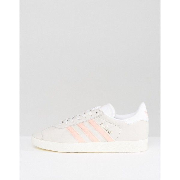 adidas Originals Pastel Grey And Pink Gazelle Trainers ($97) ❤ liked on Polyvore featuring shoes, sneakers, high top shoes, pink high tops, pink sneakers, pink jersey and adidas shoes
