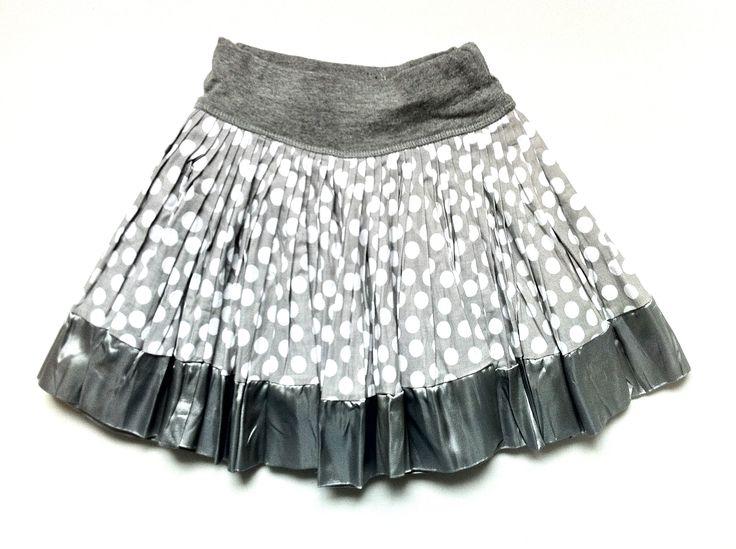Grey and White Spot Print Cotton Skirt w/ Silver Satin Trim | KAF KIDS  51 Mackelvie Street, Grey Lynn, Auckland.  http://kafkids.co.nz/