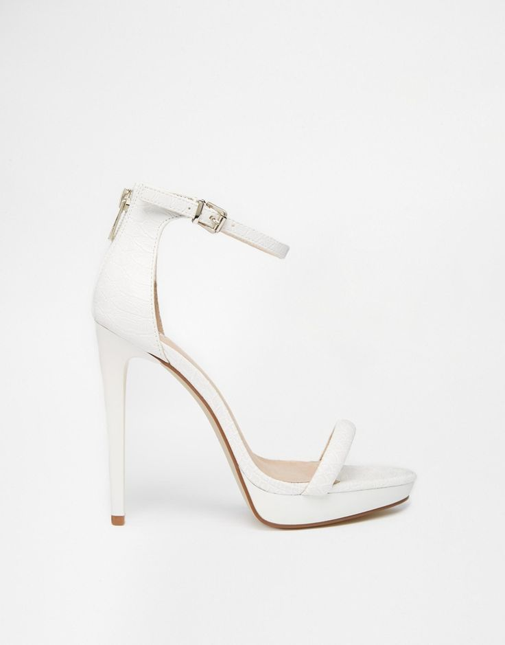River Island White Platform Barely There Heeled Sandals