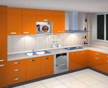 Tủ bếp Acrylic màu cam sang trọng