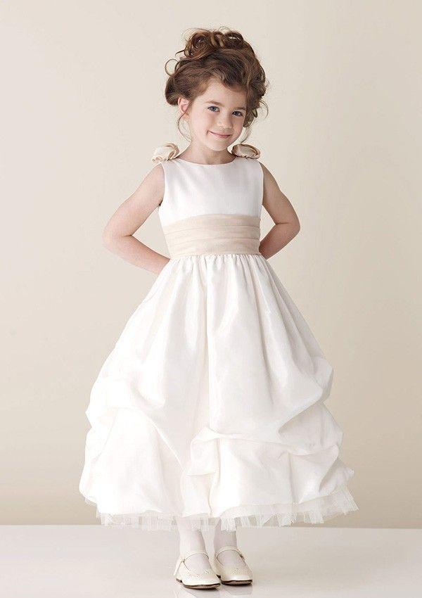 Princess Rund Knöchellang Taft Blumenmädchenkleid mit Rüschen