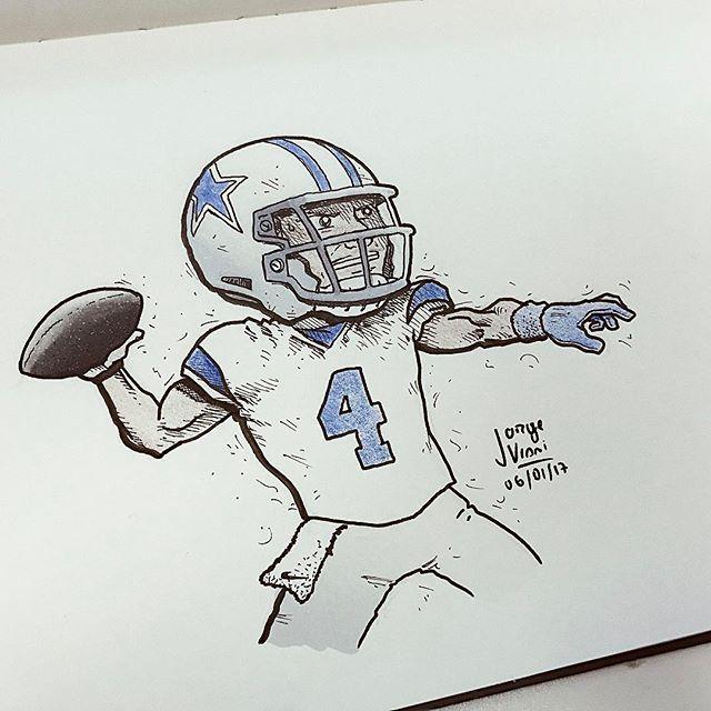 Awesome football illustration created by @desenhai with their Chameleon Pens.   -#desenhai #desenho #drawing #draw #ink #inking #sketchbook #ilustracao #illustration #arteparavida #arte #ink #doodle #instaart #artedodia #achadosdasemana #instagrambrasil #dallascowboys #cowboys #playoffs #NFL #futebolamericano #espn #dakprescott #chameleonpens