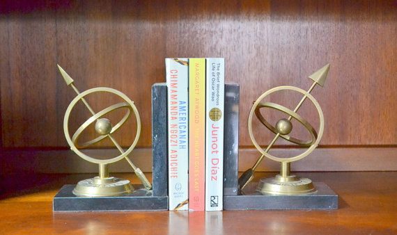 vintage mid-century marble and brass sundial bookends by compostthis #vintage #bookworm #homedecor #brass #interiordesign #etsy