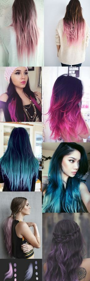 Dark Black / Brown to Pastel Ombre Hair Color Trends 2015....REALLY  like the pinks and purples!!!!