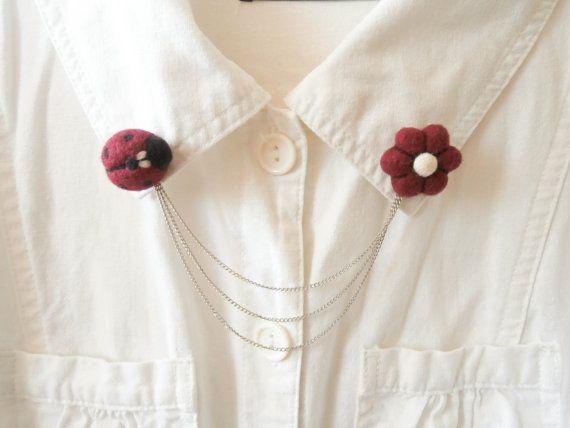 Collar Broche mariquita y flor doble broche por CreativeAtelierBg