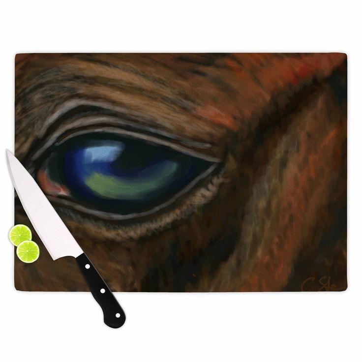 "Cyndi Steen ""Arabian Eye"" Brown Animals Cutting Board"