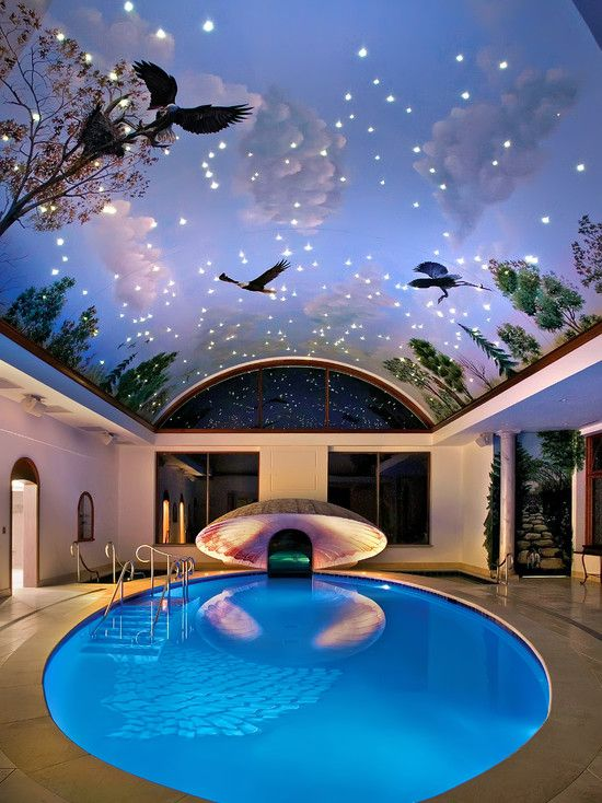 round indoor pool with a unique ceiling we dont do indoor pools very - Cool House Indoor Pools