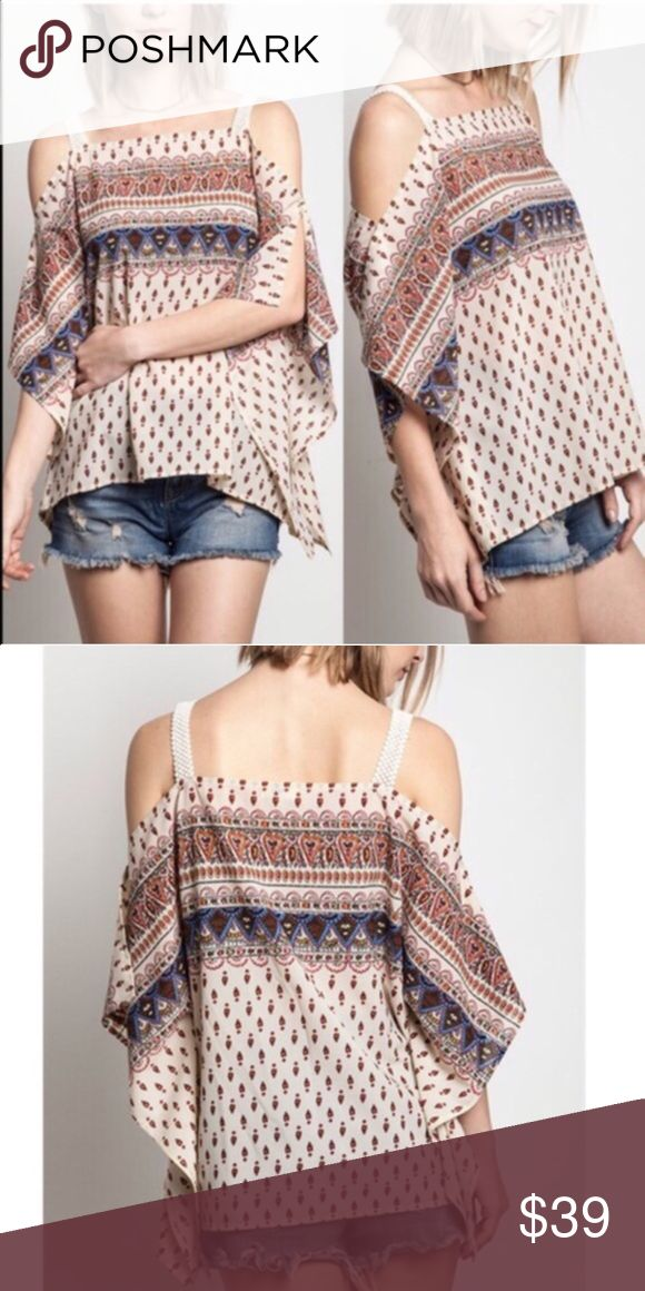 The SUMMER LILY cold shoulder top - CREAM Adorable open shoulder print top. ‼️NO TRADE, PRICE FIRM‼️ Bellanblue Tops