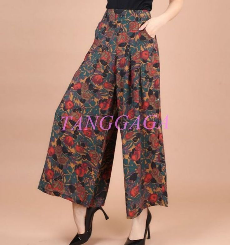 Chinese Style Womens Loose Casual Wide Leg Printing Palazzo Dress Pants Slacks