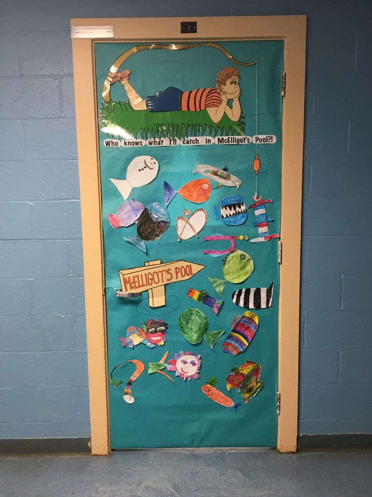 """Dr. Seuss Door Decoration  Read McElligot's Pool to your class and have each child make a fish.  """"Who knows what I'll catch in McElligot's Pool?""""  Students made up pretzel fish, Frankenstein fish, vampire fish, and snowman fish.  Great way for students to use their imaginations!"""