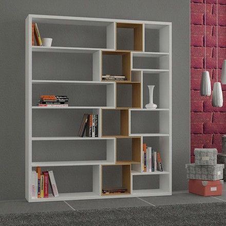 decovry.com - Decortie | Roscoe Book Shelf, White / walnut, Materiaal 18mm MDF…