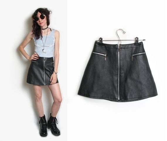 Vegan Leather Mini Skirt // Motto // Size by HowToCatchaGhost