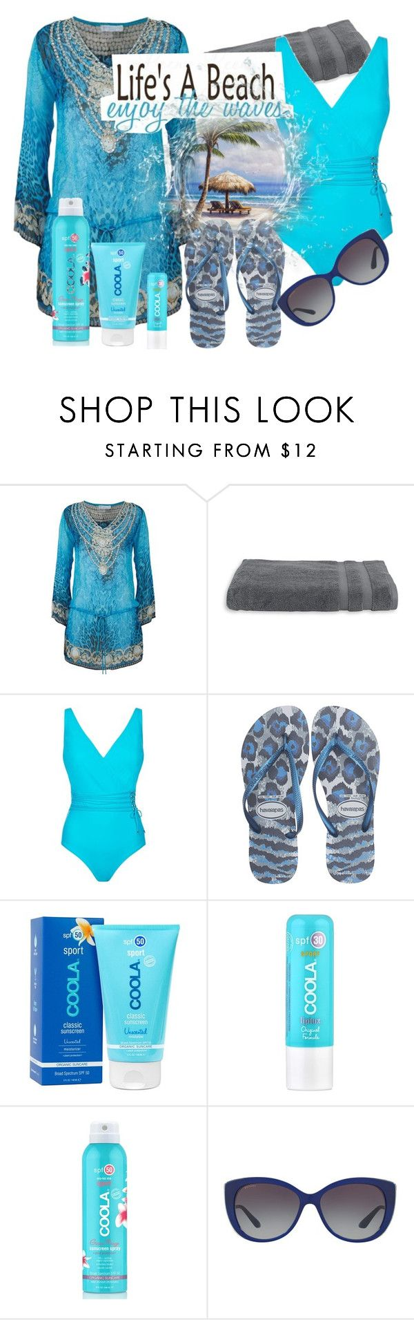"""Life's a Beach!"" by happychristy ❤ liked on Polyvore featuring ELIZABETH HURLEY beach, Lord & Taylor, Gottex, Havaianas, COOLA Suncare, Bulgari, swimsuit, beachwear, beachstyle and skincare"