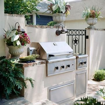 This grilling station is a step up from a basic grill and for Outdoor cooking station ideas