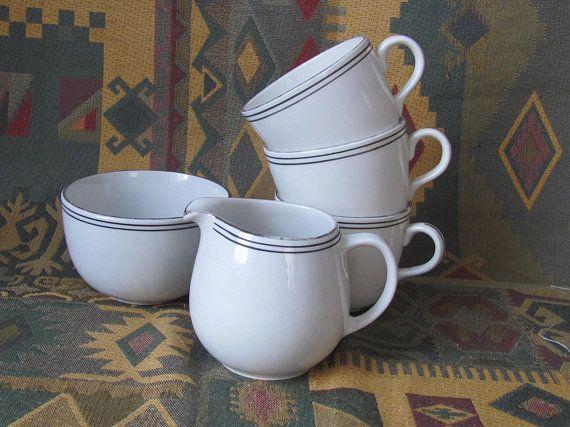 5 Pcs Set of ARABIA Finland Drinkware - 3 Cups, Sugar Bowl & Creamer; Scandinavian Vintage Old Arabia Retro Porcelain Cups with Tiny Rims
