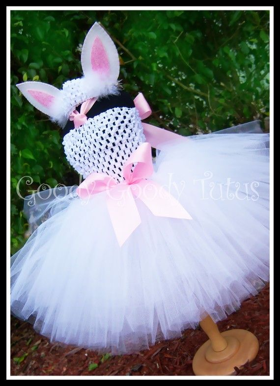LITTLE BUNNY LOVE White Crocheted Bunny Tutu Dress with Ear Clippies and Headband. $55.00, via Etsy.