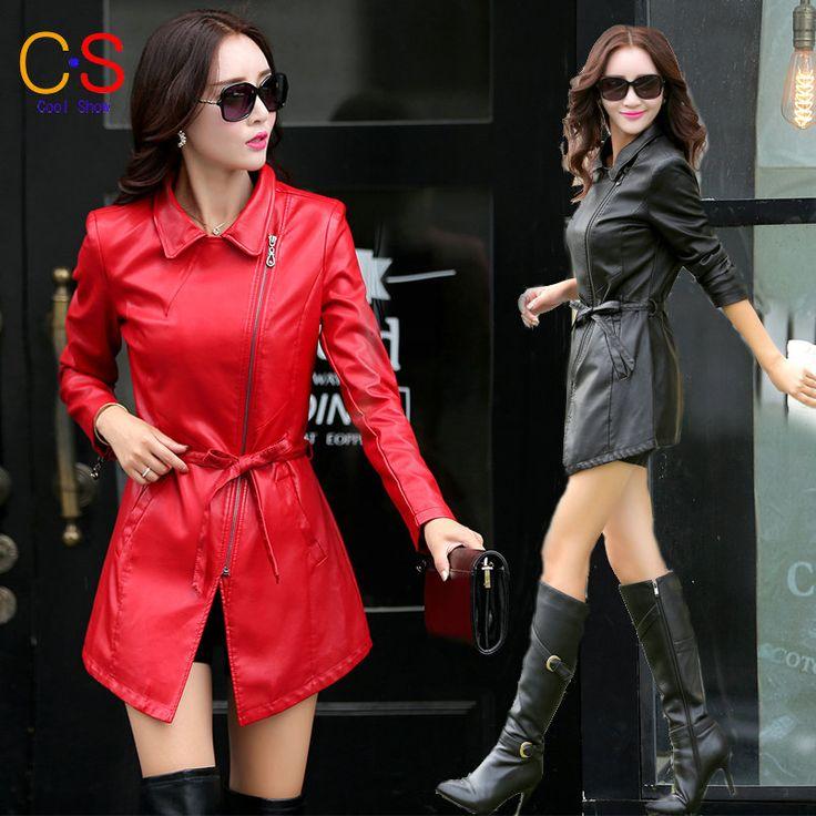 New Design Inclined Zipper Adjustable waist Women Leather Windbreaker Lady Long Jacket Spring Autumn Coat XY512