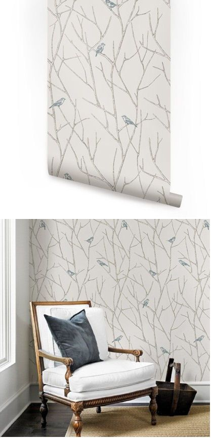 Branch Birds Blue Peel And Stick Wallpaper   Wall Sticker Outlet
