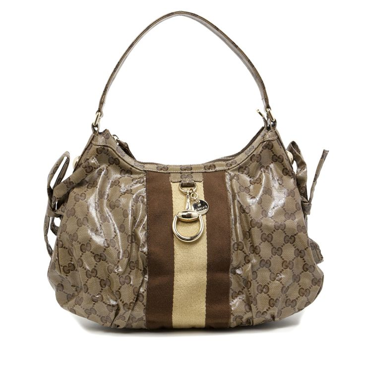 Gucci Crystal Canvas Web Stripe Shoulder Bag - modaselle