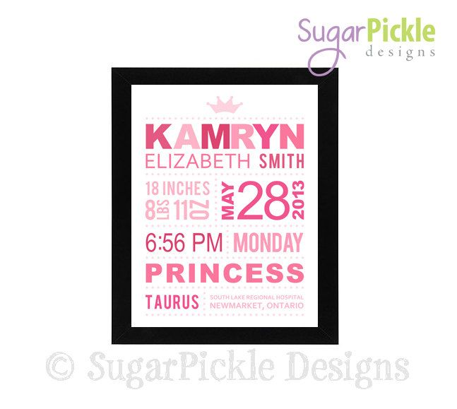 Princess Birth Details Print Birth by SugarPickleDesigns on Etsy, $19.50