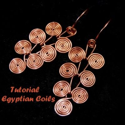 Jewelry TUTORIAL Wire Wrapping Egyptian Coils Dangle Earrings