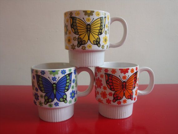 Set Of Vintage Butterfly Mugs