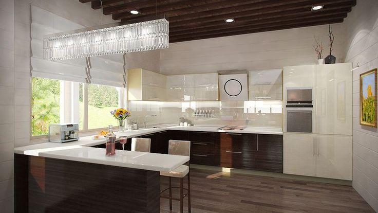 Дизайн кухни в частном доме. Дизайн проект кухни загородного дома. | ТЕХНОГРАФ