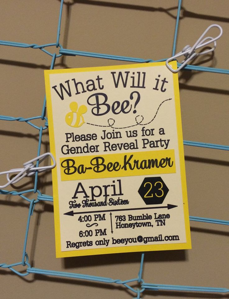 What Will It Bee Invitations Set of 10, Bee Gender Reveal Invites, He or She Invintations, Custom Gender Reveal Invites by BeeYouDesigns on Etsy https://www.etsy.com/listing/285341053/what-will-it-bee-invitations-set-of-10