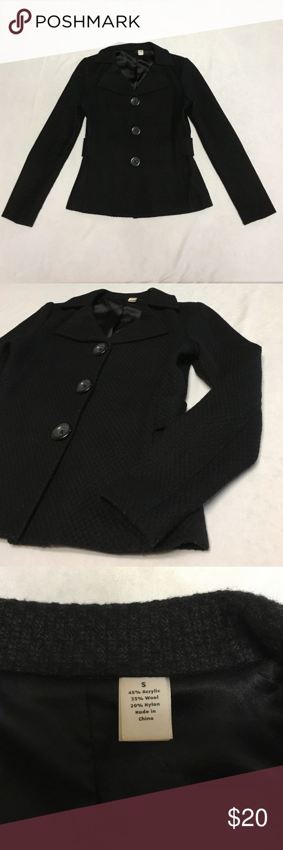Acrylic Wool Blend Blazer Small Black Excellent condition No Brand Tag Gap? Coat Blazer Jacket     Jet Black Tweed Jackets & Coats Blazers