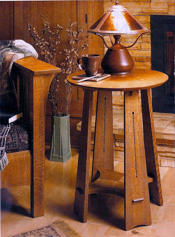 Love the lines of this. Craftsman Round Table by NewMissionWorkshop on Etsy, $875.00